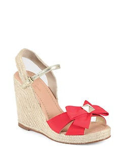Kate Spade New York - Carmelita Grosgrain & Raffia Wedge Sandals