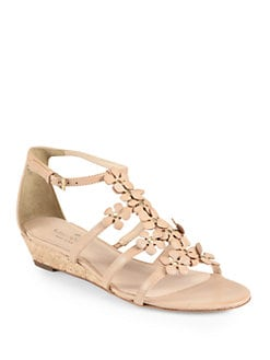 Kate Spade New York - Vikki Leather Cork Wedge Sandals