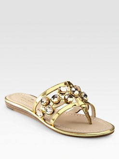 Kate Spade New York - Inga Jeweled Metallic Leather Thong Sandals