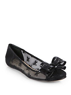 Kate Spade New York - Bernice Mesh & Leather Bow Ballet Flats