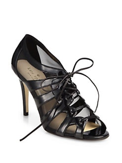 Kate Spade New York - Leather & Mesh Lace-Up Sandals