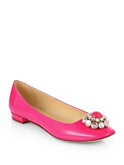 Kate Spade New York - Notion Jeweled Patent Leather Ballet Flats