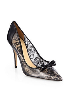 Kate Spade New York - Lisa Lace & Patent Leather Pumps