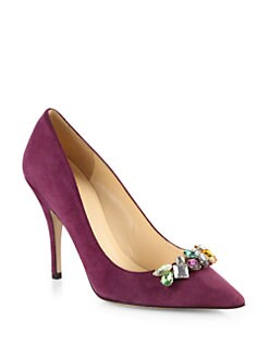 Kate Spade New York - Lover Bejeweled Suede Pumps
