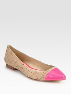 Kate Spade New York - Ellie Point-Toe Cork & Patent Leather Flats