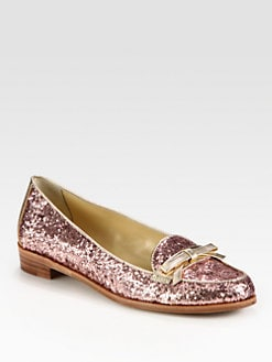 Kate Spade New York - Cora Glitter-Coated Patent Leather and Metallic Leather Loafers