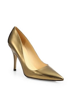 Kate Spade New York - Licorice Metallic Leather Pumps