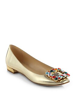 Kate Spade New York - Norella Metallic Leather Rhinestone Buckle Ballet Flats