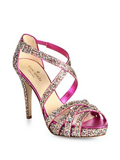 Kate Spade New York - Ginger Glitter & Satin Platform Sandals