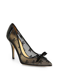 Kate Spade New York - Lisa Mesh & Patent Leather Bow Pumps