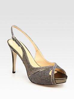 Kate Spade New York - Metallic Leather-Trim Slingback Platform Sandals