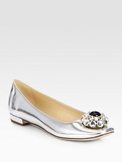 Kate Spade New York - Notion Bejeweled Metallic Leather Ballet Flats