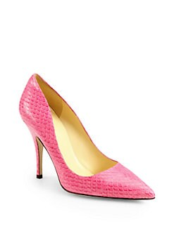Kate Spade New York - Licorice Snake-Print Leather Pumps