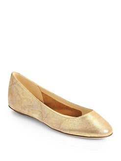 Kate Spade New York - Kat Metallic Brushed Leather Ballet Flats