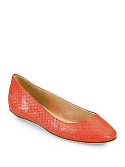 Kate Spade New York - Kat Snake-Embossed Leather Ballet Flats