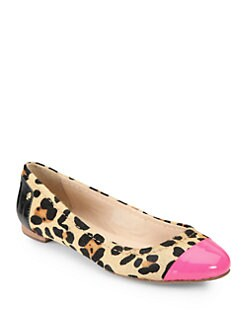 Kate Spade New York - Terry Leopard-Print Calf Hair & Patent Leather Flats
