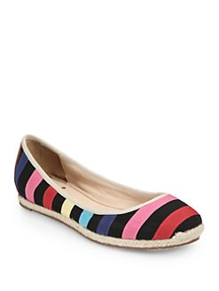Kate Spade New York - Vivi Striped Canvas Espadrille Flats