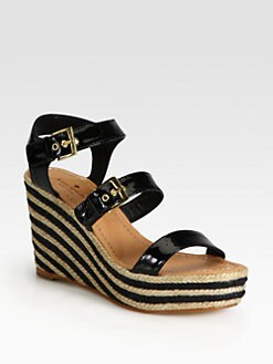 Kate Spade New York - Darla Patent Leather Striped Espadrille Wedge Sandals