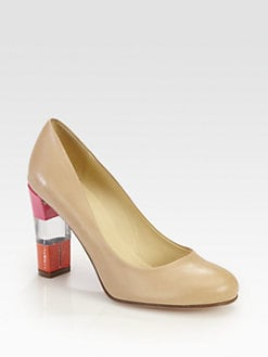 Kate Spade New York - Leslie Leather & Patent Colorblock Heel Pumps