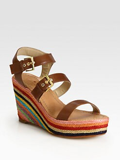 Kate Spade New York - Darla Leather Multicolored Espadrille Wedge Sandals