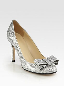 Kate Spade New York - Krysta Glitter-Coated Patent Leather Bow Pumps