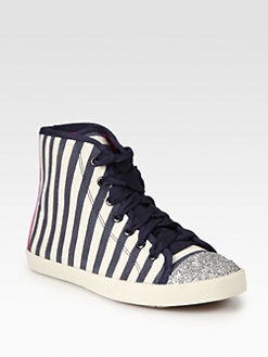 Kate Spade New York - Lorna Glitter & Striped Canvas Lace-Up Sneakers