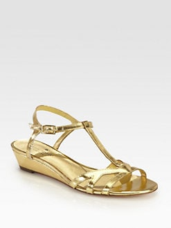 Kate Spade New York - Violet Metallic Leather Wedge Sandals