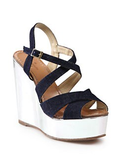 Kate Spade New York - Lux Denim & Metallic Leather Wedge Sandals
