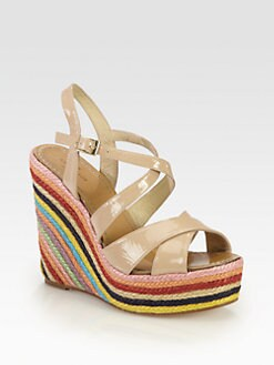 Kate Spade New York - Lux Patent Leather Multicolor Raffia Wedges