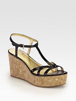 Kate Spade New York - Theodora Patent Leather Cork Wedge Sandals