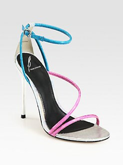 B Brian Atwood - Labrea Metallic Snake-Embossed Leather Sandals