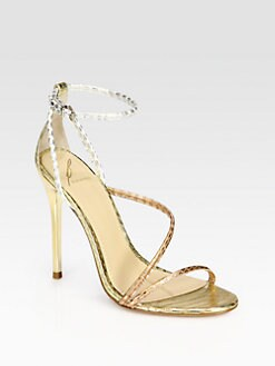 B Brian Atwood - Labrea Metallic Snakeskin Sandals