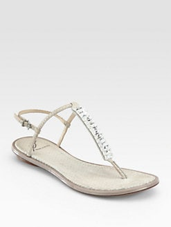 B Brian Atwood - Callas Jeweled Snake-Print Leather T-Strap Sandals