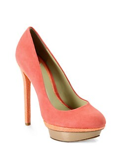 B Brian Atwood - Fontanne Colorblock Suede Platform Pumps