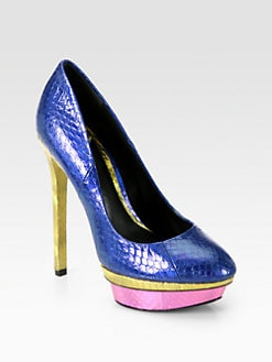 B Brian Atwood - Fontanne Metallic Snakeskin Platform Pumps