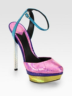 B Brian Atwood - Fontenay Metallic Snakeskin Platform Pumps