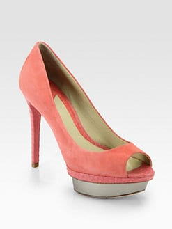 B Brian Atwood - Franciska Suede & Patent Leather Platform Pumps