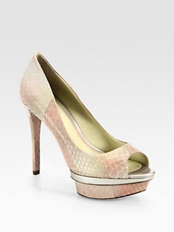 B Brian Atwood - Franciska Snakeskin Platform Pumps