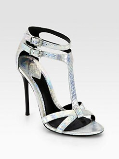 B Brian Atwood - Laetitia Metallic Snakeskin T-Strap Sandals