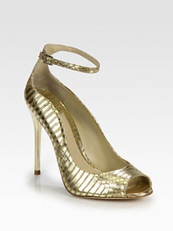 B Brian Atwood - Leida Metallic Snakeskin Ankle Strap Pumps