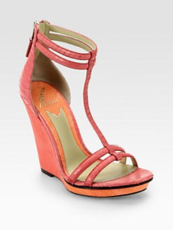 B Brian Atwood - Pinkston Snakeskin & Suede Wedge Sandals