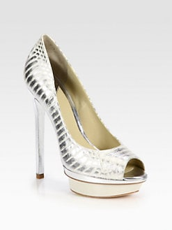 B Brian Atwood - Florencia Metallic Snakeskin Platform Pumps