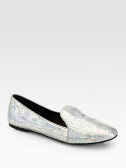 B Brian Atwood - Claudelle Metallic Snakeskin Smoking Slippers
