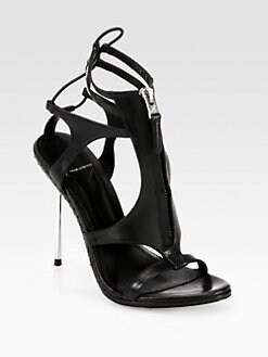 B Brian Atwood - Merritta Zip-Front Leather Sandals