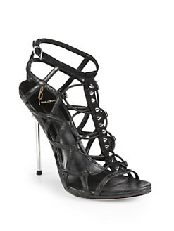 B Brian Atwood - Studded Leather Cage Sandals