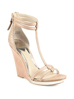 B Brian Atwood - Pinkston Snake-Embossed Leather & Suede Wedge Sandals