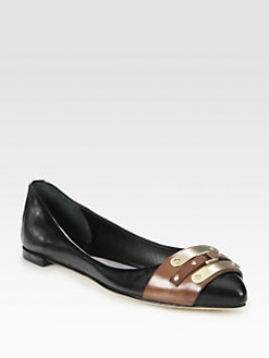 B Brian Atwood - Avisha Two-Tone Leather Point Toe Ballet Flats