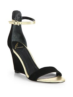 B Brian Atwood - Roberta Suede & Metallic Leather Wedge Sandals