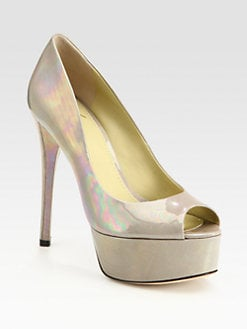 B Brian Atwood - Patent Leather Peep Toe Platform Pumps