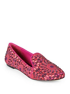 B Brian Atwood - Claudelle Jeweled Kaleidoscope-Print Canvas Smoking Slippers